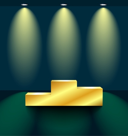 Stage with a golden pedestal Vector