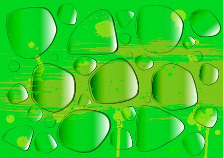 Water drops on a green surface Stock Vector - 11236855