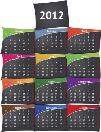 Sticky black calendar 2012 Vector