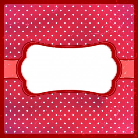 polka dot background: Red aged frame with polka dot background