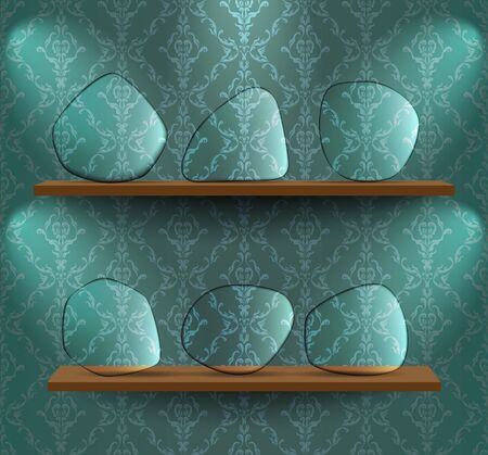 Shelves with glass placeholders Vector