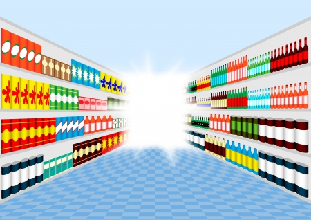 Supermarket corridor Illustration