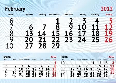 2012 calendar for february Vector