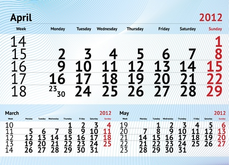 2012 calendar for april Vector