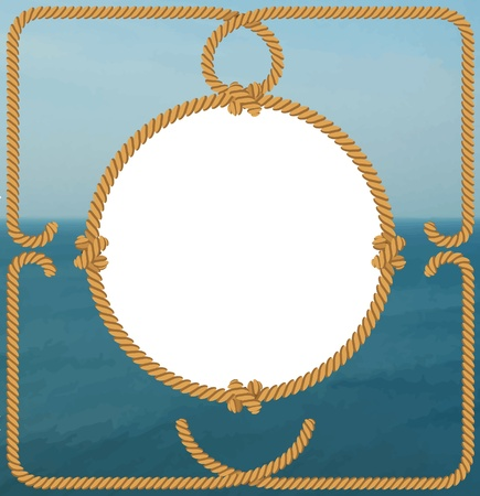 Rope frame over the sea Vector