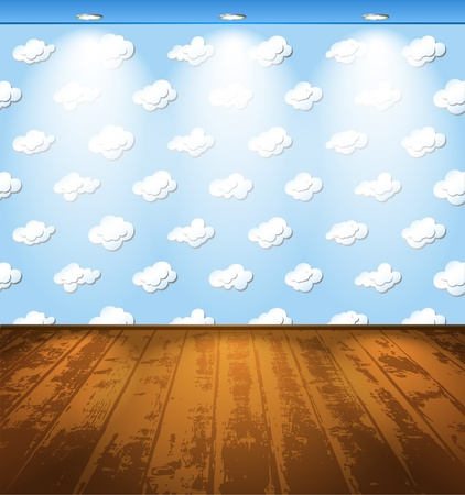 room wallpaper: Room with wooden floor and clouds on the wallpaper