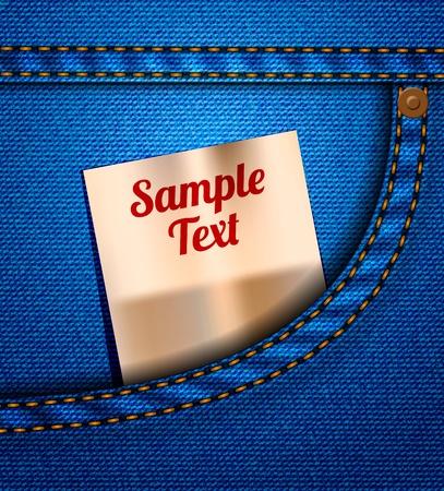 threadbare: Tasca dei jeans con la carta Vettoriali