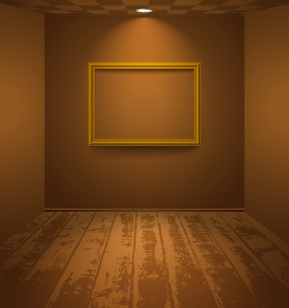 Brown room with wooden floor and frame on the wall Vector