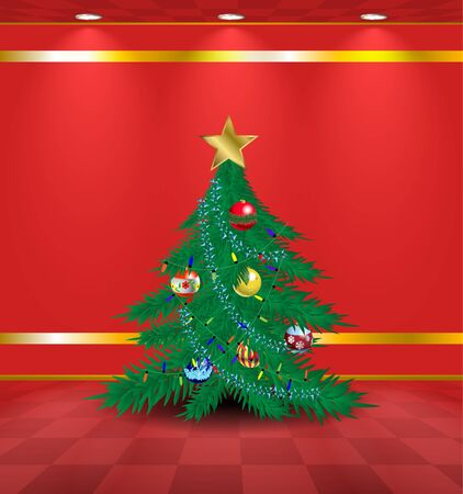 Red room with christmas tree Vector