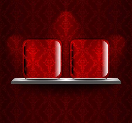 Shelf with two glass placeholders Vector