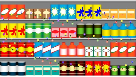 grocery store: Supermarket christmas shelf with garlands Illustration