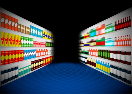 mall interior: Supermarket shelves in the dark