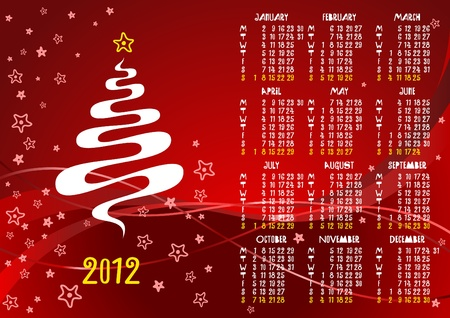 2012 red calendar with funny letters Vector