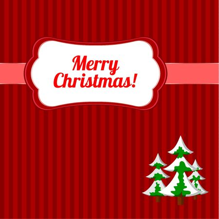 Christmas frame with firs Vector