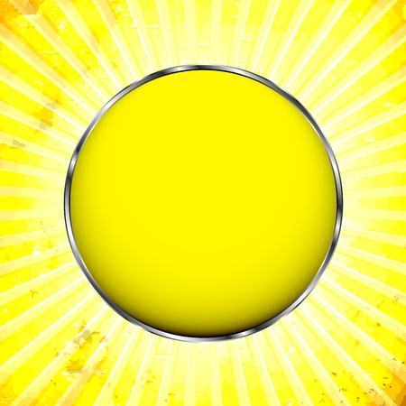 Shiny yellow ball in metal ring Vector
