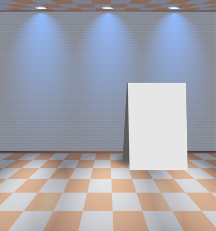 Grey room with ad stand Vector