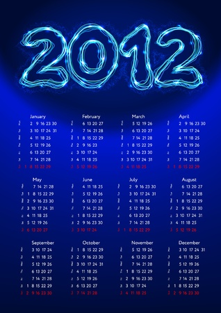 2012 calendar with electric digits Vector