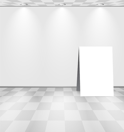 art gallery interior: Grey room with ad stand