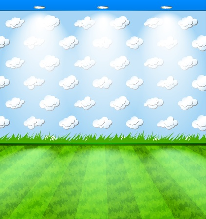 Eco room with grass carpet Stock Vector - 11660984