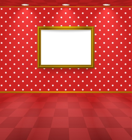 Room with frame and polka dot wallpaper Vector
