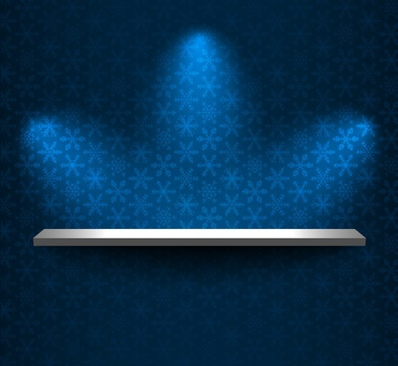 Shelf on the wallpaper with snowflakes Vector