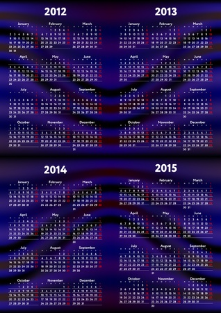 Set of calendars 2012, 2013, 2014, 2015 Vector