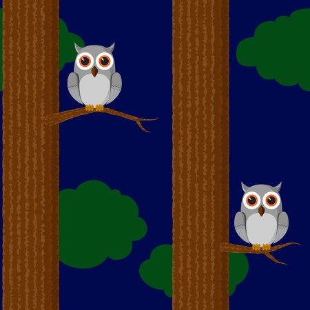 Seamless childish wallpaper with owl in the forest Vector