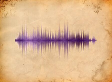 Sound waveform on the aged paper photo