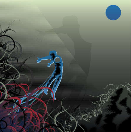 flying man: Flying man with a blue moon and tentacles