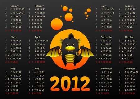 Calendar 2012 with black dragon Vector