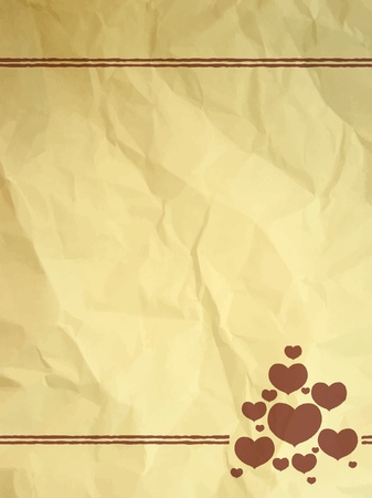 Crumpled vintage card with hearts Vector