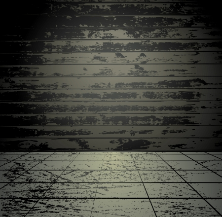 Grunge room with wooden wall Vector