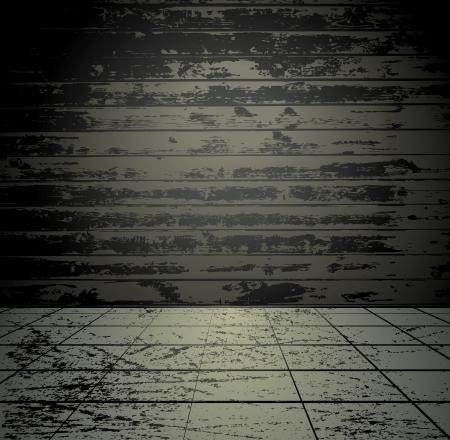 Grunge ruimte met houten wand