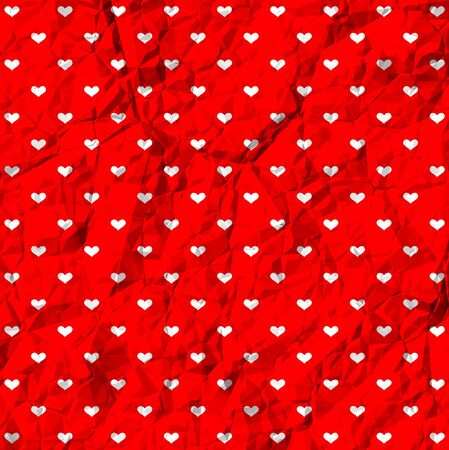 Polka dot hearts on crumpled surface Vector