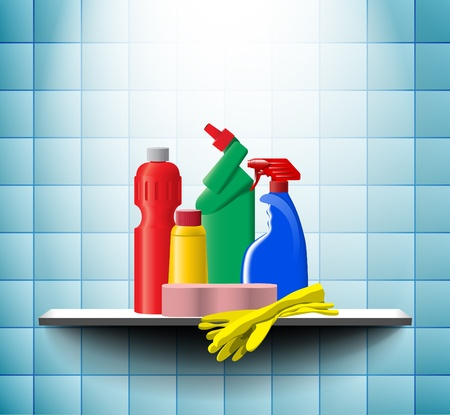 Cleaner bottles on the bath shelf Vector