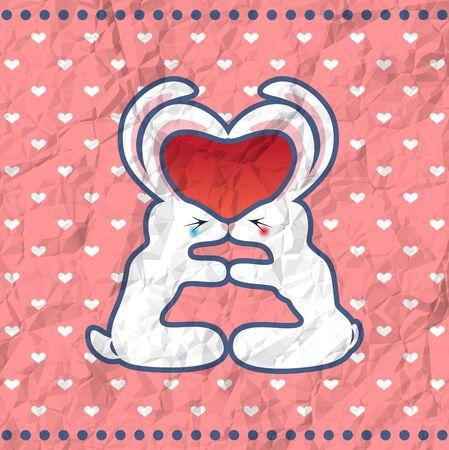truelove: Conigli Kissing sulla carta sgualcito annata