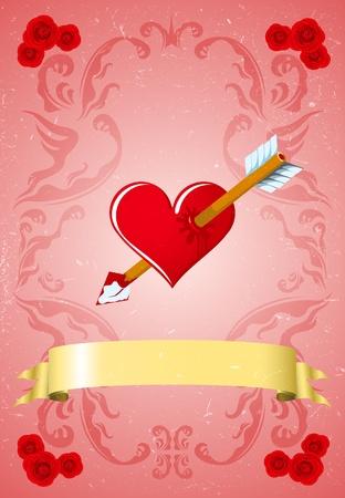 Vintage Valentine card Stock Vector - 11986562