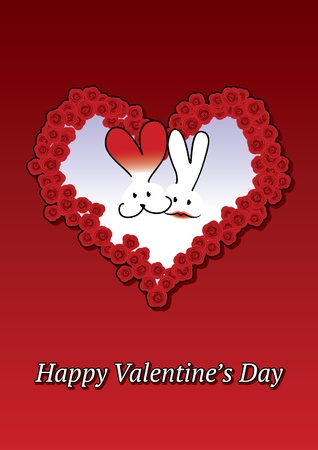 Valentine card with rabbits Vector