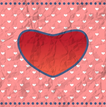 Crumpled Valentine card Vector