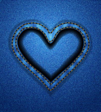 Jeans heart frame Vector