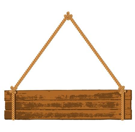 wooden post: Letrero de Madera Vectores