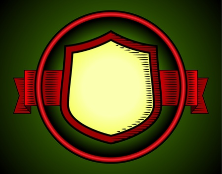 Woodcut styled shield label Vector