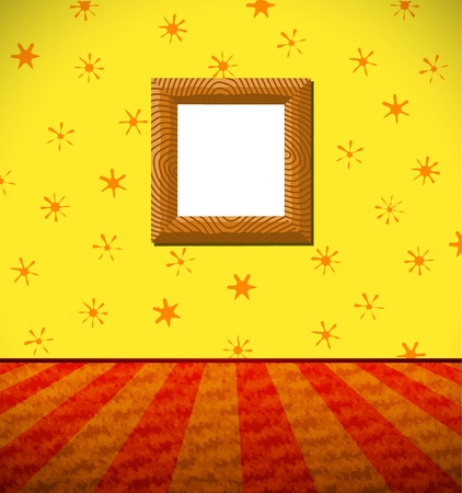 Cartoon room with a frame Vector