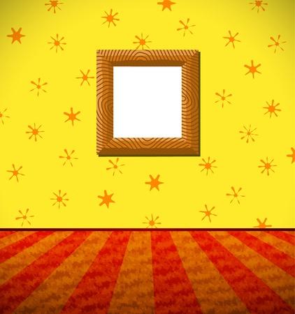Cartoon room with a frame Vector