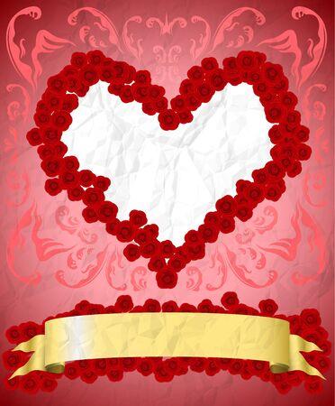 Crumpled vintage valentine card Vector