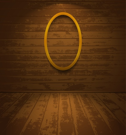 Wooden room with elliptic frame Vector