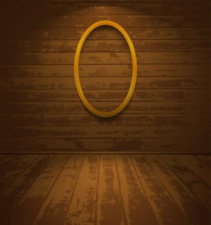 elliptic: Wooden room with elliptic frame