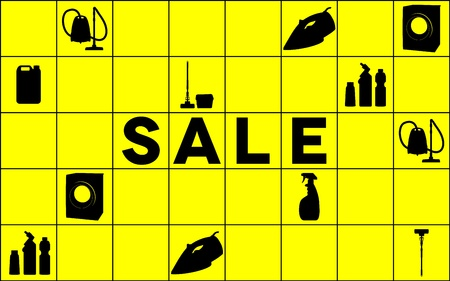 Sale banner with cleaning tools Vector
