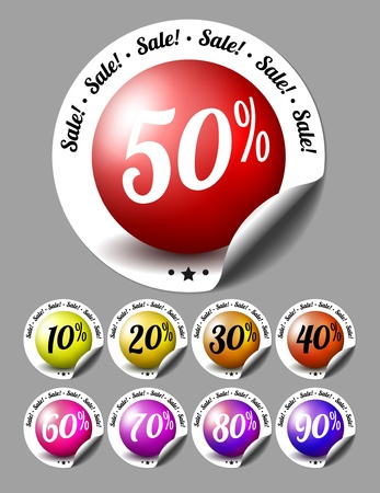 Sale stickers with percents Ilustrace
