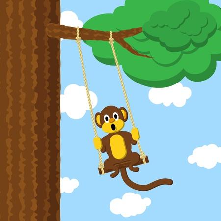 monkey face: Swinging monkey